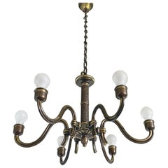 Hugo Gorge Six Light Brass Chandelier, Viennese Modern Age, 1930s, Austria