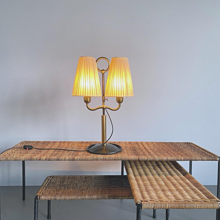 Josef Frank Two Light Brass Table Lamp, Viennese Modern Age, Austria For Sale 5