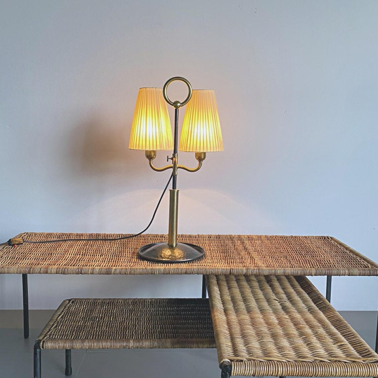 Josef Frank Two Light Brass Table Lamp, Viennese Modern Age, Austria For Sale 6