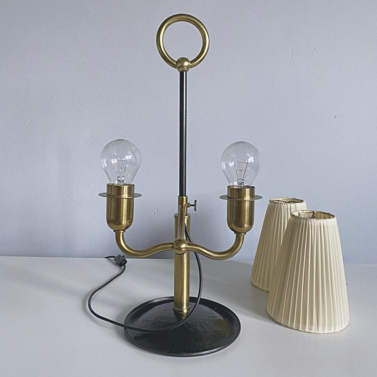 Josef Frank Two Light Brass Table Lamp, Viennese Modern Age, Austria For Sale 10