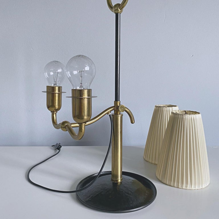Josef Frank Two Light Brass Table Lamp, Viennese Modern Age, Austria For Sale 11
