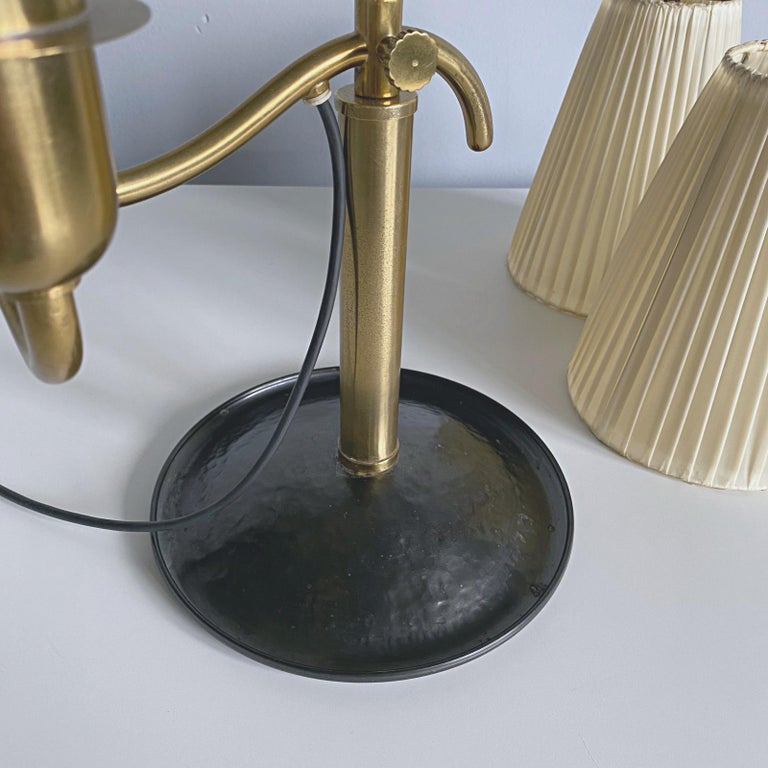Josef Frank Two Light Brass Table Lamp, Viennese Modern Age, Austria For Sale 12