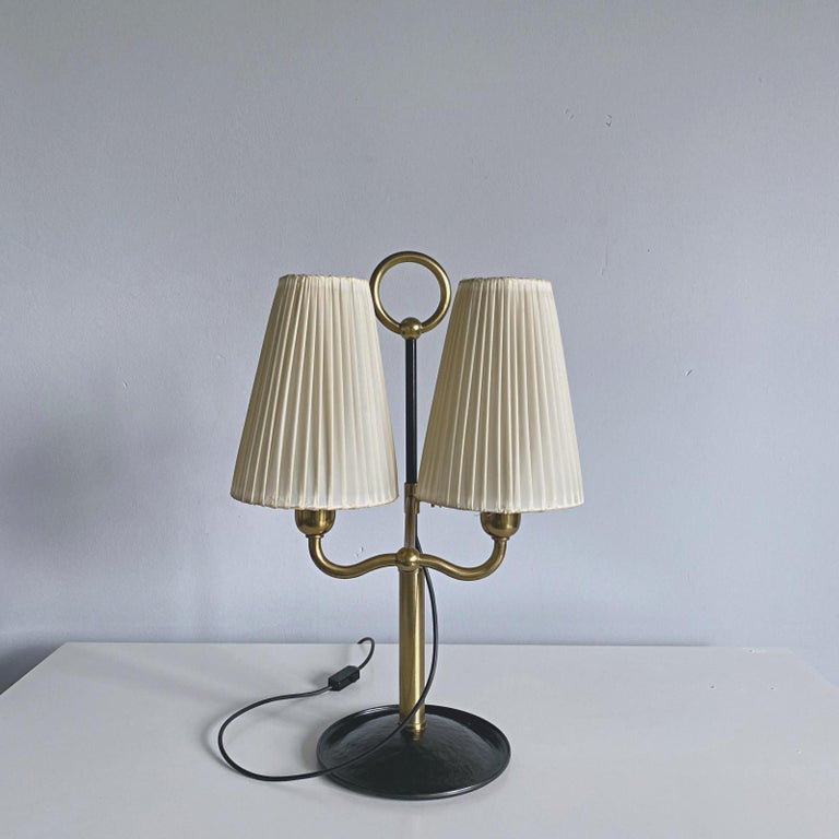 Very rare and elegant Viennese Modern Age adjustable brass and forged iron table lamp designed by Josef Frank for Haus & Garten in late 1920s, Vienna. Josef Frank was very famous architect and designer. He was one of the founders of Viennese Modern,
