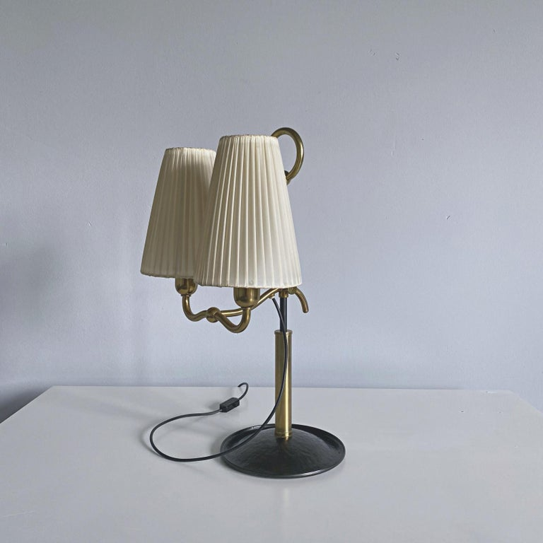Vienna Secession Josef Frank Two Light Brass Table Lamp, Viennese Modern Age, Austria For Sale