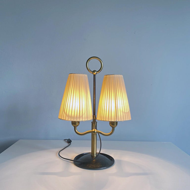 Forged Josef Frank Two Light Brass Table Lamp, Viennese Modern Age, Austria For Sale