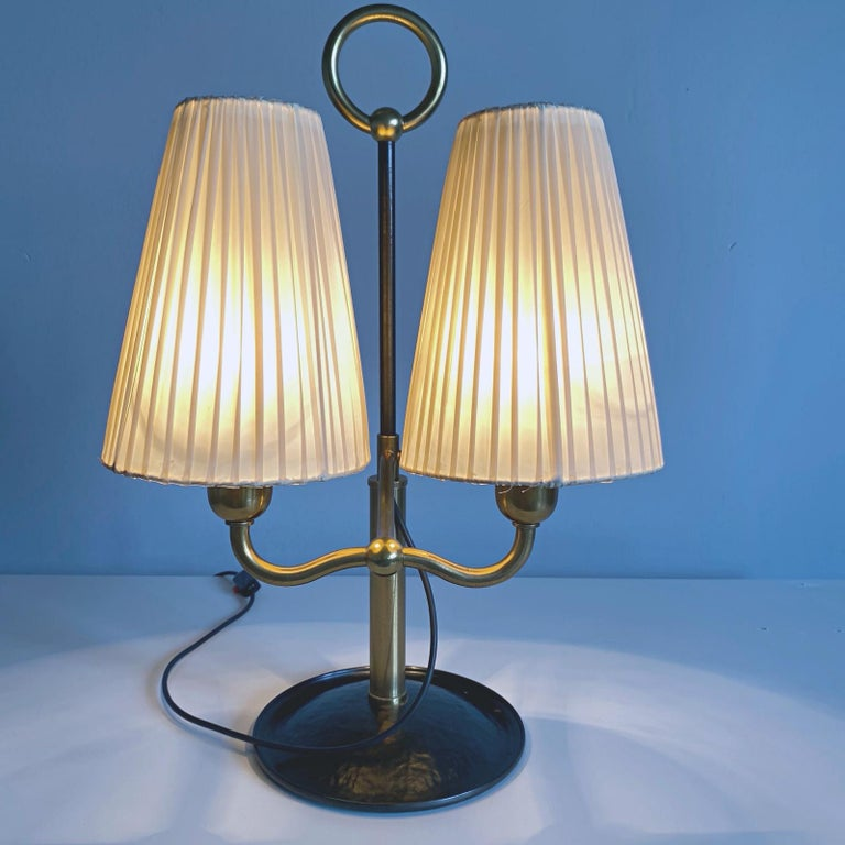 Josef Frank Two Light Brass Table Lamp, Viennese Modern Age, Austria For Sale 1