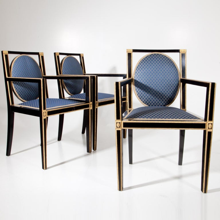 Ebonized Viennese Secession Armchairs, Early 20th Century For Sale
