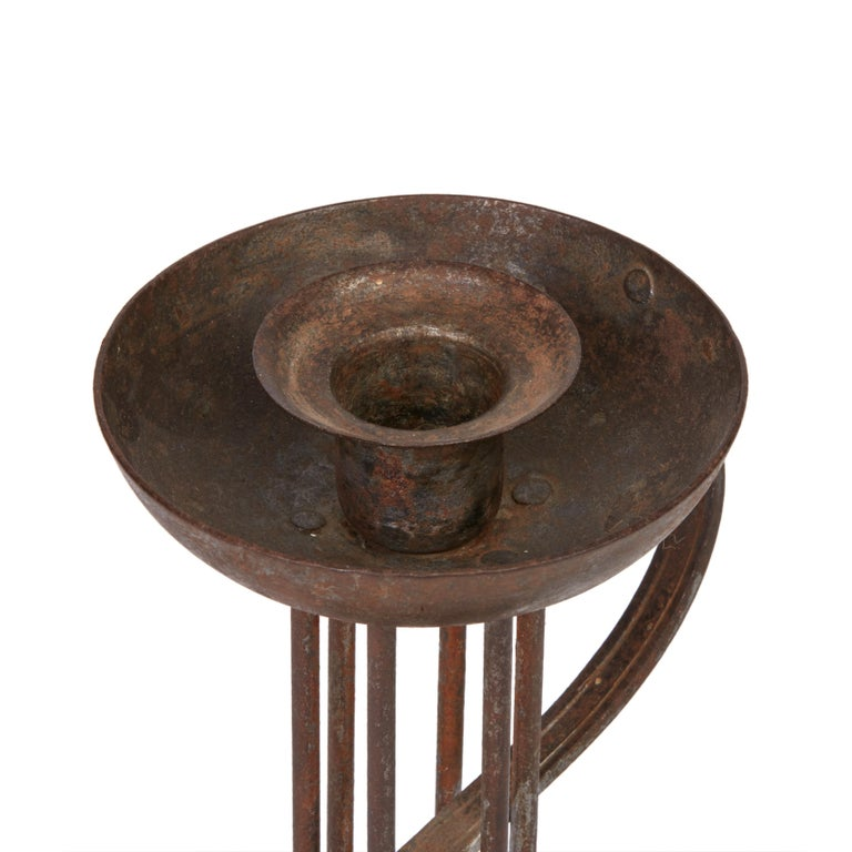 Vienna Secession Viennese Secessionist Hugo Berger Industrial Art Iron Candlestick, circa 1900 For Sale