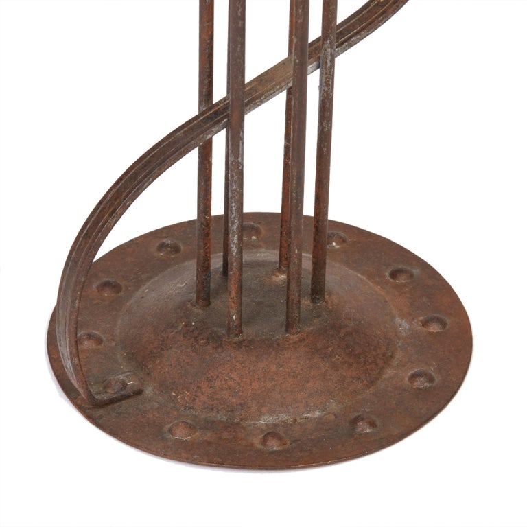 Viennese Secessionist Hugo Berger Industrial Art Iron Candlestick, circa 1900 In Good Condition For Sale In Bishop's Stortford, Hertfordshire