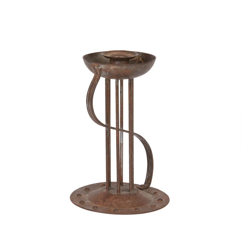 Viennese Secessionist Hugo Berger Industrial Art Iron Candlestick, circa 1900 For Sale 1