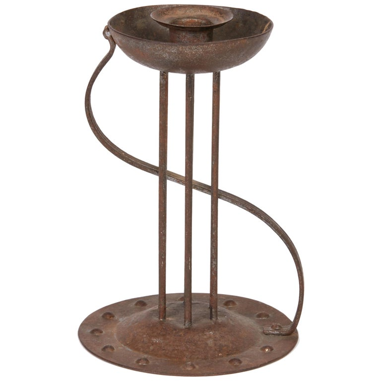 Viennese Secessionist Hugo Berger Industrial Art Iron Candlestick, circa 1900 For Sale