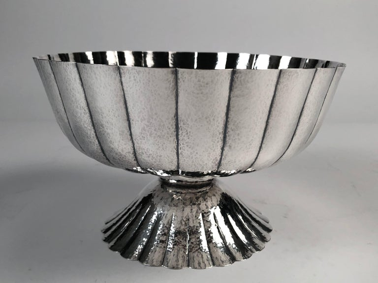 Hammered Viennese Secessionist Silver Footed Bowl after a Josef Hoffmann Design For Sale