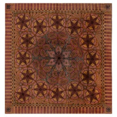 Viennese Secessionist Violet Blue and Yellow Floral Handwoven Wool Rug