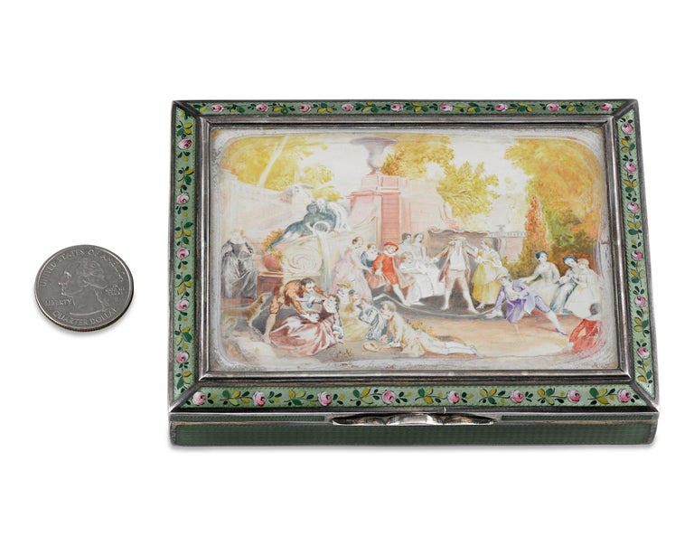 Austrian Viennese Silver and Enamel Snuffbox For Sale