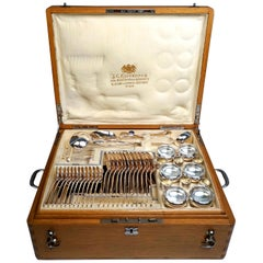 Viennese Silver Art Nouveau Cutlery Set for 12 People by Klinkosch in Cassette