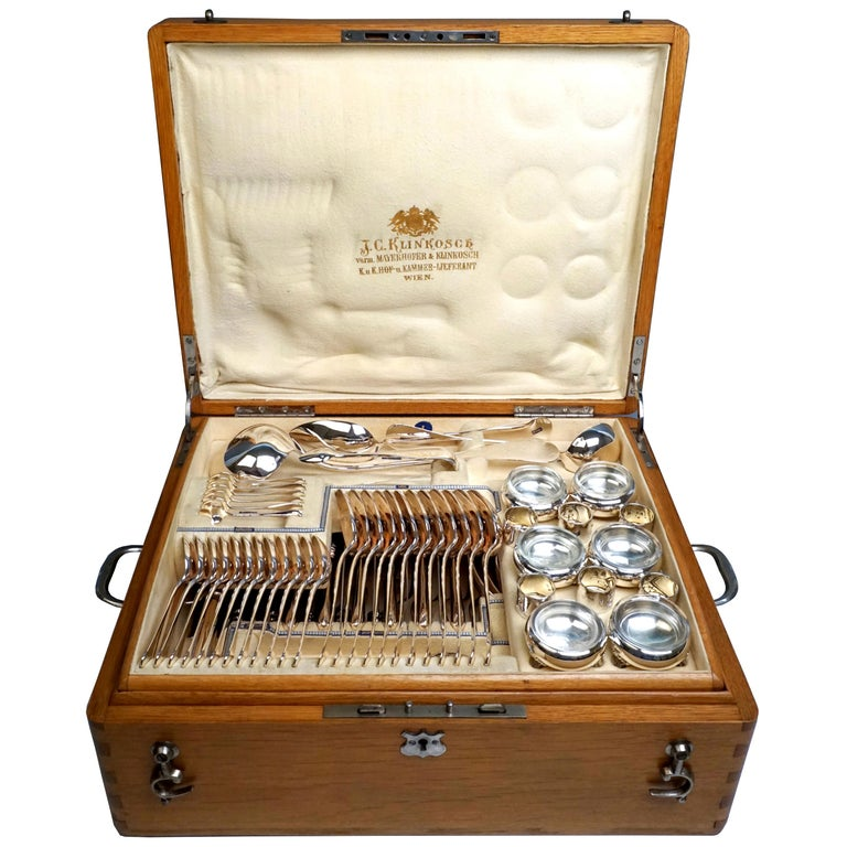 Viennese Silver Art Nouveau Cutlery Set for 12 People by Klinkosch in Cassette For Sale