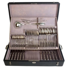 Viennese Silver Art Nouveau Cutlery Set for 12 People by Sturm in Original Case