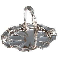 Viennese Silver Centerpiece Bowl with Handle by Jarosinski & Vaugoin, circa 1925