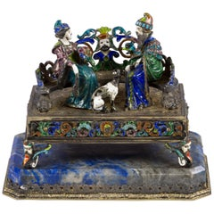Viennese Silver Enamel and Lapis Figural Group, circa 1880
