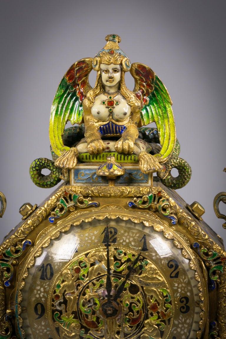 Austrian Viennese Silver Gilt and Enamel Sphinx Clock, circa 1880 For Sale
