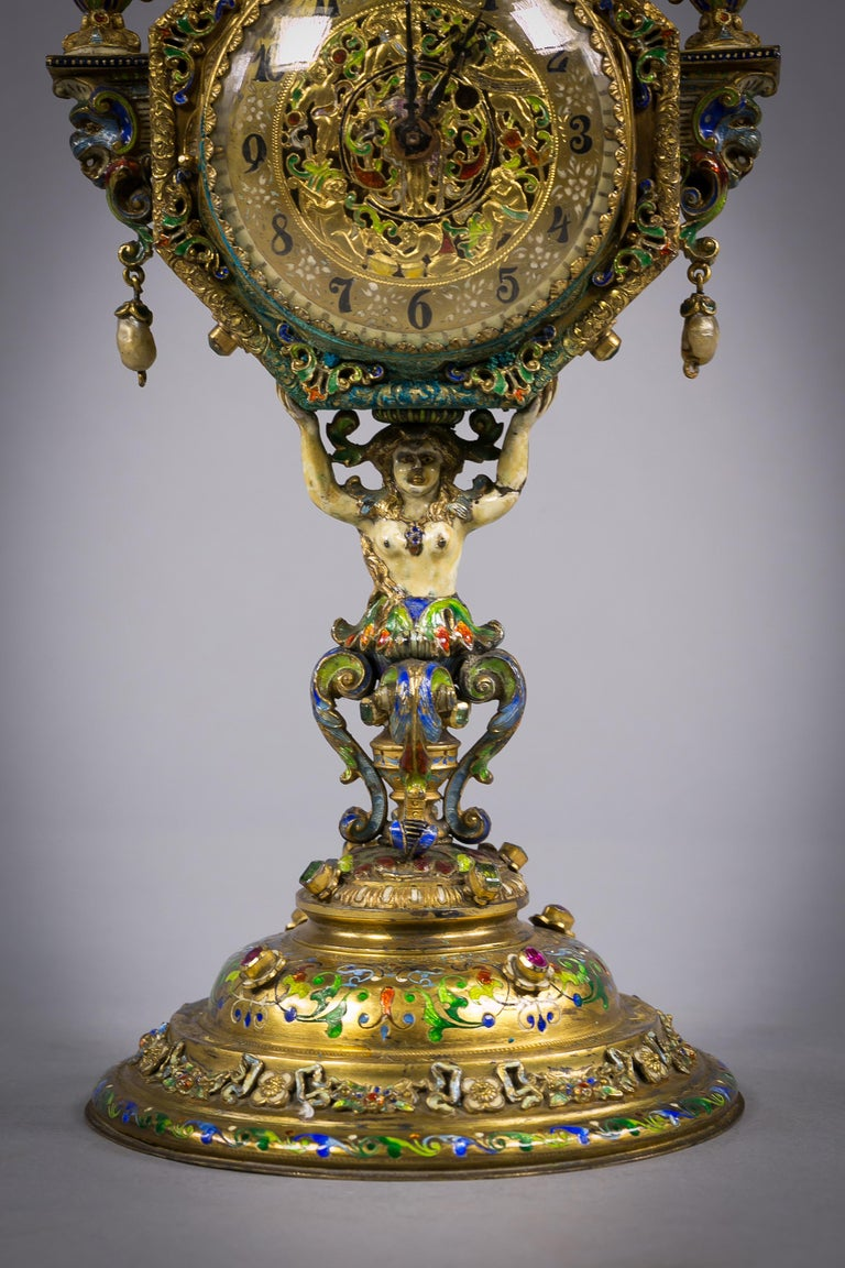 Viennese Silver Gilt and Enamel Sphinx Clock, circa 1880 In Good Condition For Sale In New York, NY