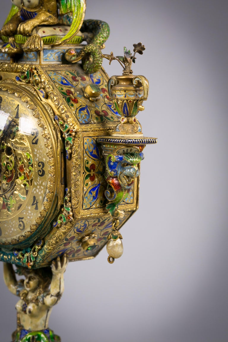 Late 19th Century Viennese Silver Gilt and Enamel Sphinx Clock, circa 1880 For Sale