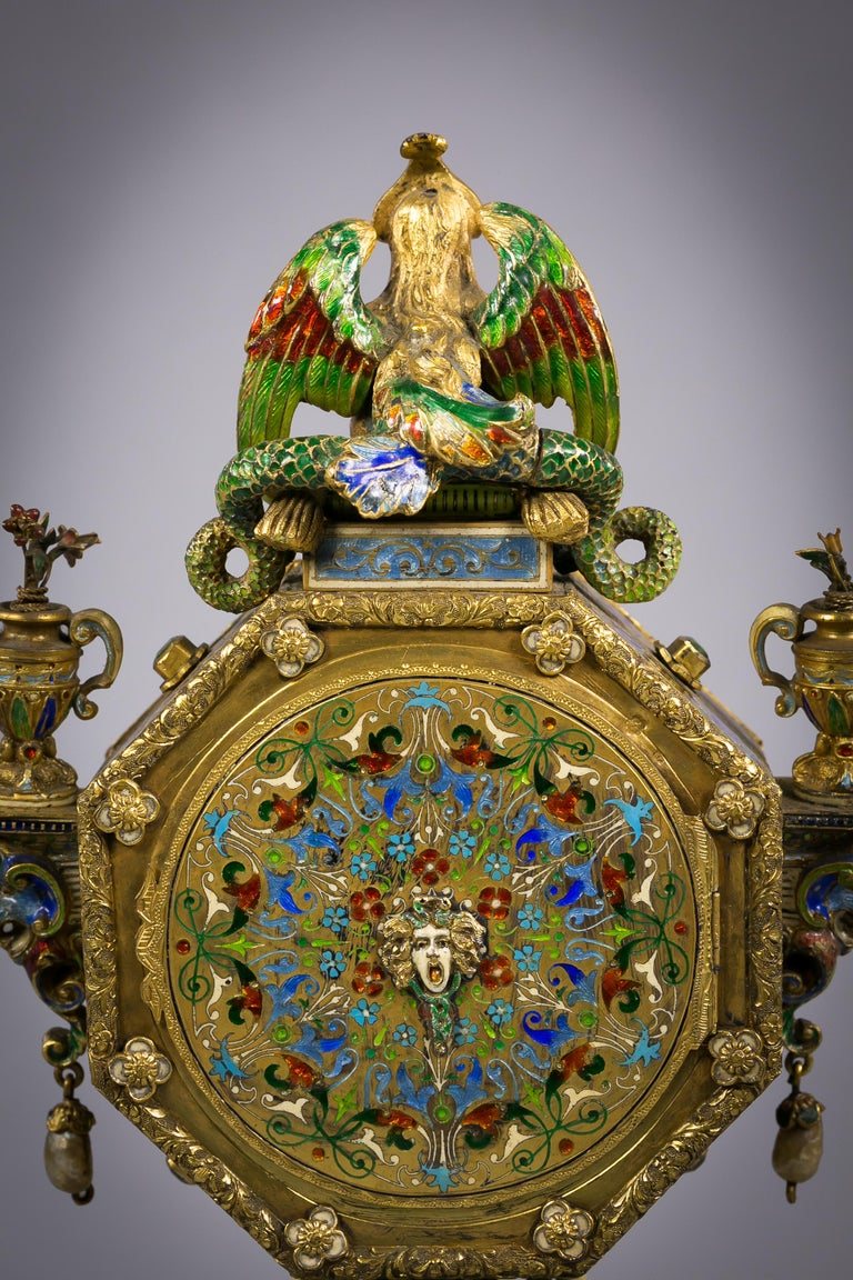 Viennese Silver Gilt and Enamel Sphinx Clock, circa 1880 For Sale 1