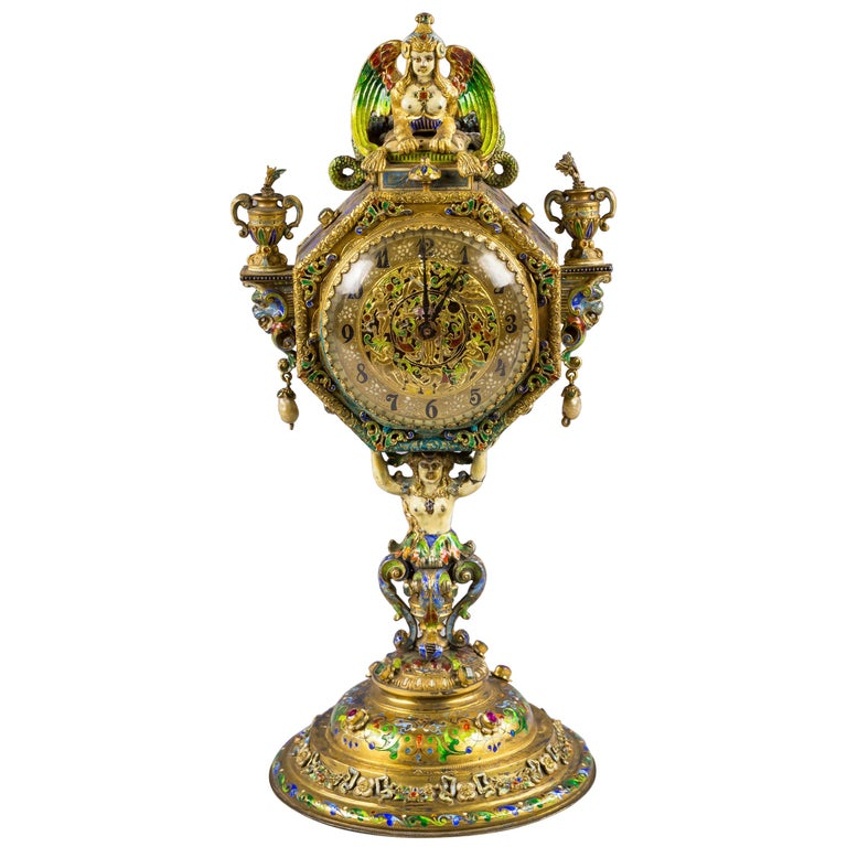Viennese Silver Gilt and Enamel Sphinx Clock, circa 1880 For Sale
