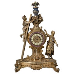 Viennese Silver Gilt, Lapis and Jeweled Figural Clock, circa 1880