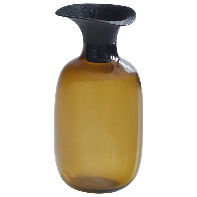 Vieno Bottle with Medium Wooden Cap by Antrei Hartikainen and Katriina Nuutinen For Sale