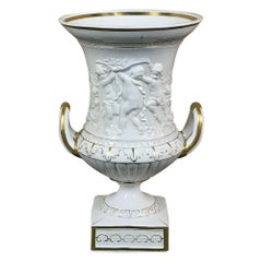 Vieux Paris Gold and White Embossed Vase, circa 19th Century