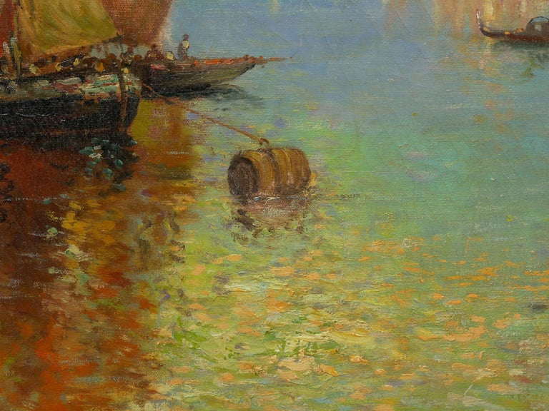 View Across the Lagoon, Venice Antique Painting by Nicholas Briganti For Sale 3
