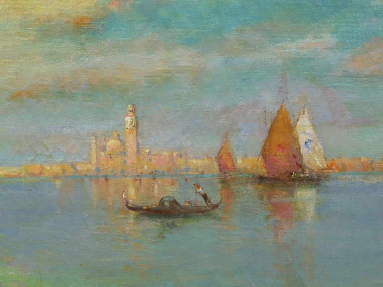 View Across the Lagoon, Venice Antique Painting by Nicholas Briganti For Sale 4
