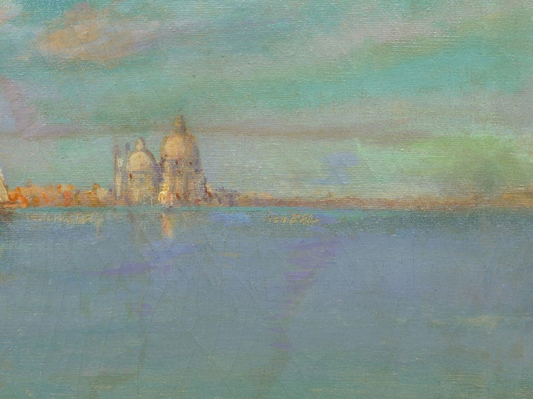 View Across the Lagoon, Venice Antique Painting by Nicholas Briganti For Sale 5