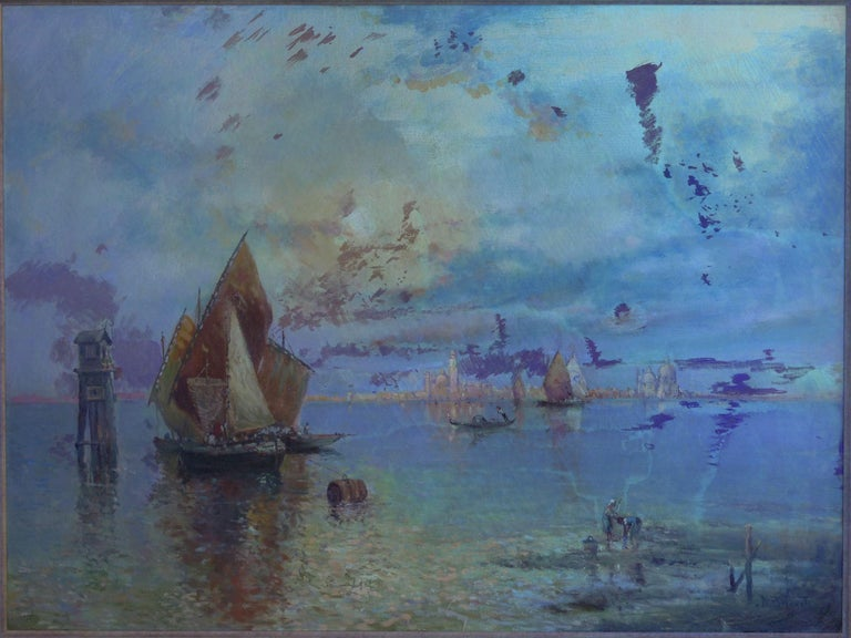 View Across the Lagoon, Venice Antique Painting by Nicholas Briganti For Sale 8