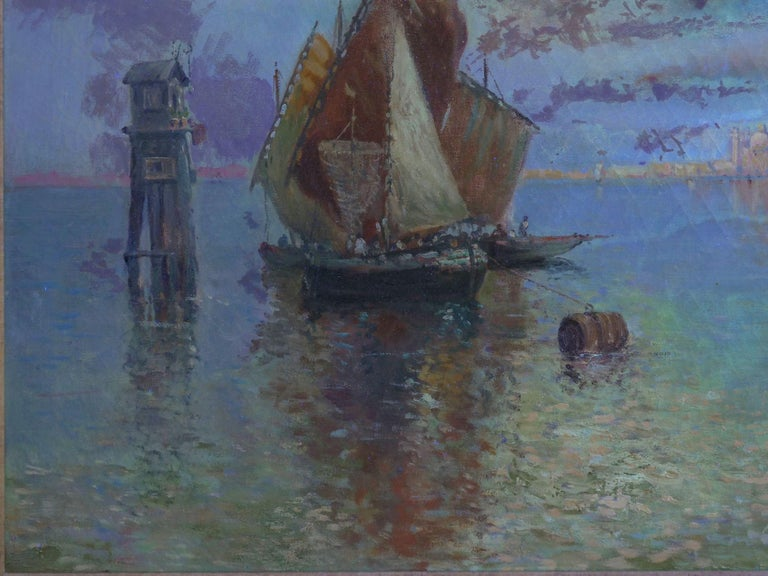 View Across the Lagoon, Venice Antique Painting by Nicholas Briganti For Sale 10