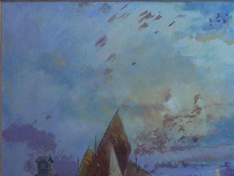 View Across the Lagoon, Venice Antique Painting by Nicholas Briganti For Sale 11