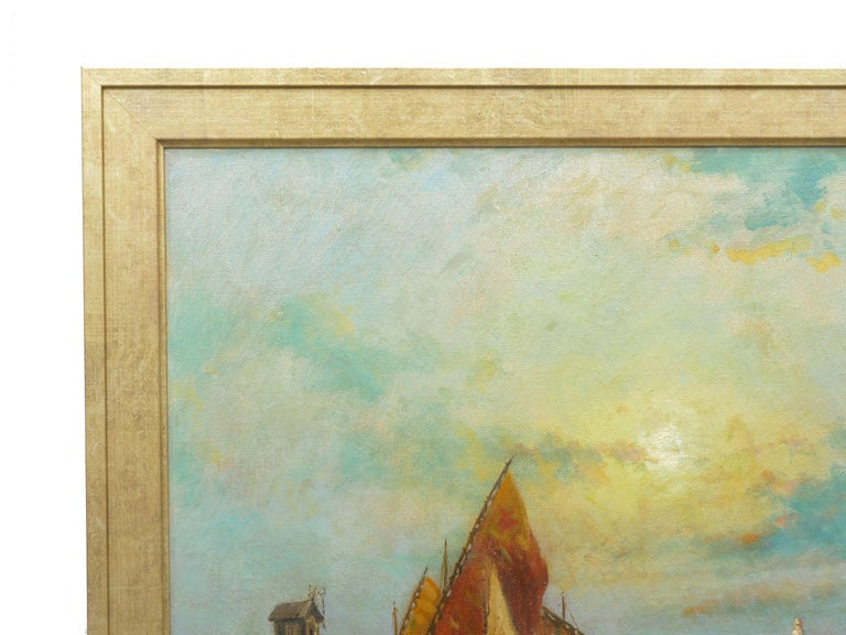 Italian View Across the Lagoon, Venice Antique Painting by Nicholas Briganti For Sale