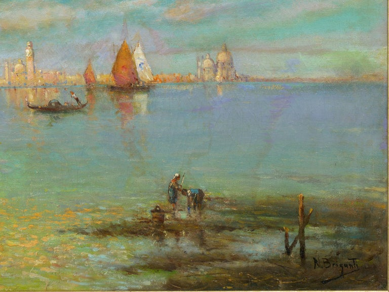 Oiled View Across the Lagoon, Venice Antique Painting by Nicholas Briganti For Sale