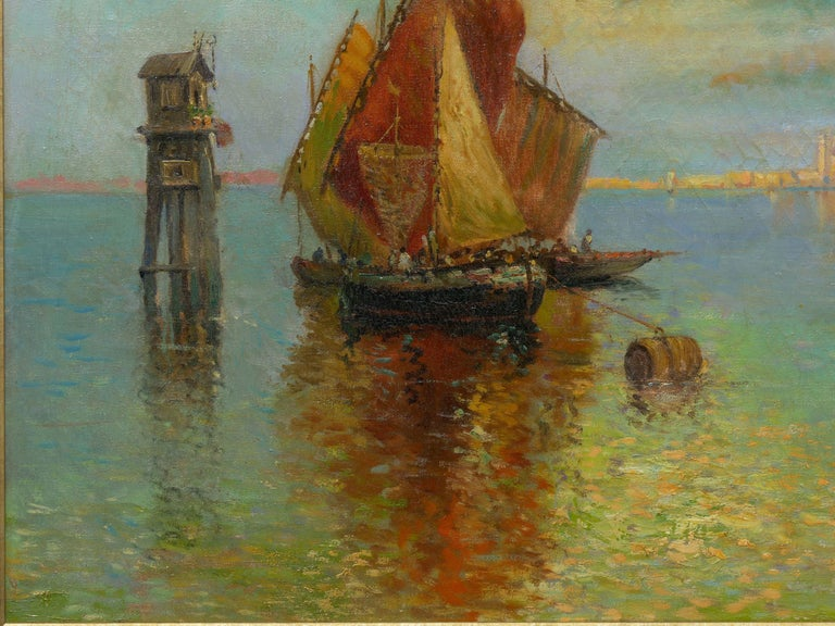 View Across the Lagoon, Venice Antique Painting by Nicholas Briganti In Good Condition For Sale In Shippensburg, PA