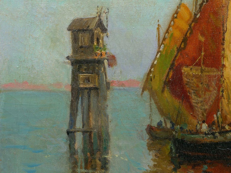 View Across the Lagoon, Venice Antique Painting by Nicholas Briganti For Sale 1