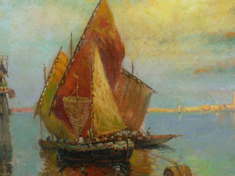 View Across the Lagoon, Venice Antique Painting by Nicholas Briganti For Sale 2