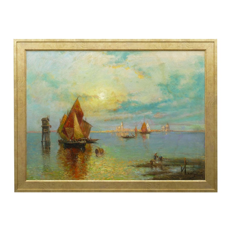 View Across the Lagoon, Venice Antique Painting by Nicholas Briganti For Sale