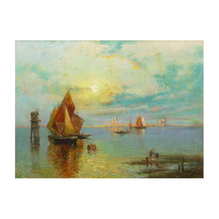 A large and fine luminist scene that captures a view of San Marco from across the lagoon in Venice while two local figures collect clams in the shallow waters, it is a delightful glimpse of a timeless location in the past. The golden hues of the