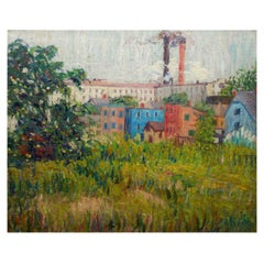 "Impressionism Oil Landscape Painting ""View of Factories"" by Annie Lovering Perot"