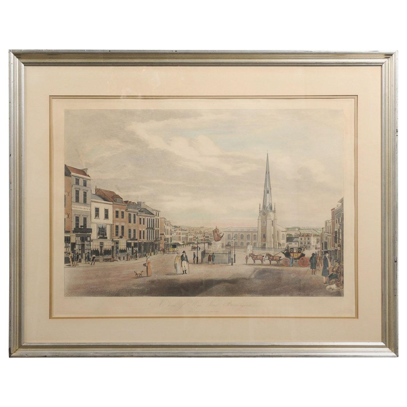 View of High Street Birmingham, 1810s Framed Lithograph Signed T. Hollins
