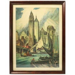 View of Manhattan from Brooklyn Vintage Nat Lowell Dry Point Etching