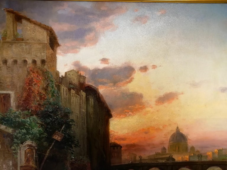 Oiled View of Rome, Carl Wuttke Impressionist German Oil on Canvas Landscape Painting For Sale