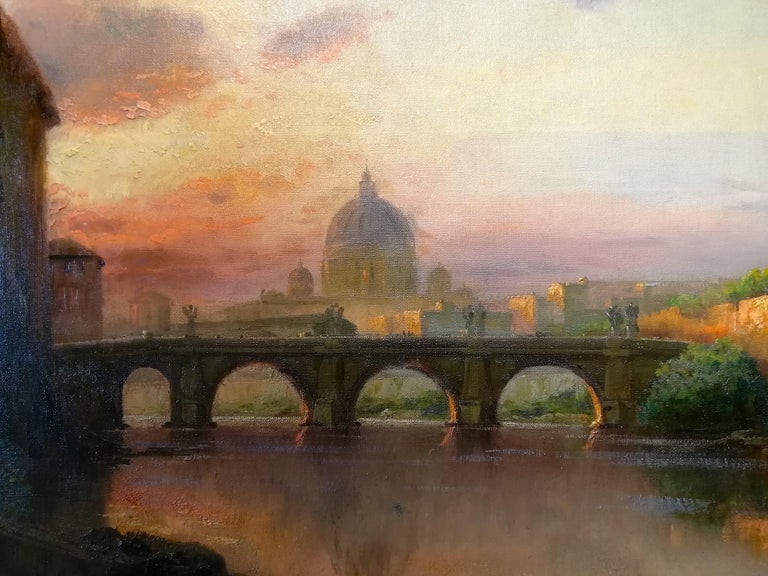View of Rome, Carl Wuttke Impressionist German Oil on Canvas Landscape Painting In Good Condition For Sale In Rome, Italy