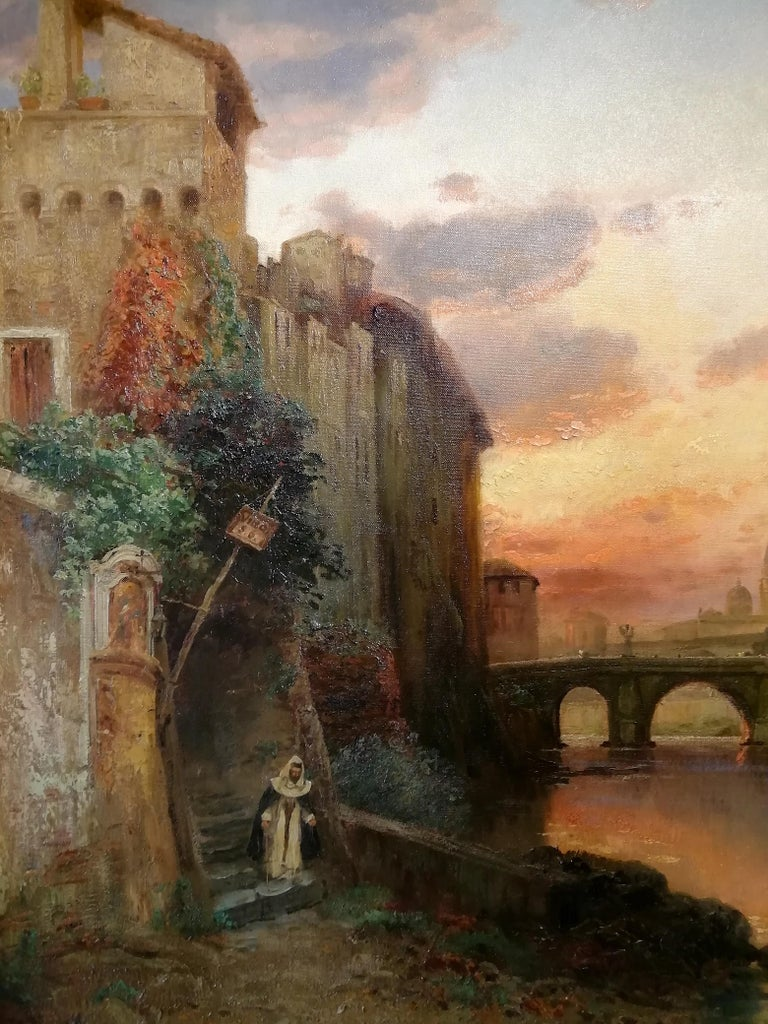 View of Rome, Carl Wuttke Impressionist German Oil on Canvas Landscape Painting For Sale 1